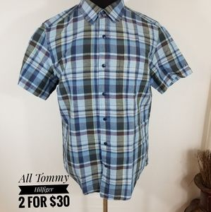 Tommy Hilfiger Blue Plaid Shirt Men Custom Fit (M)